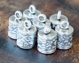 End Caps, Antique Silver, for 6mm Cord - 10 pcs - eCE001-AS