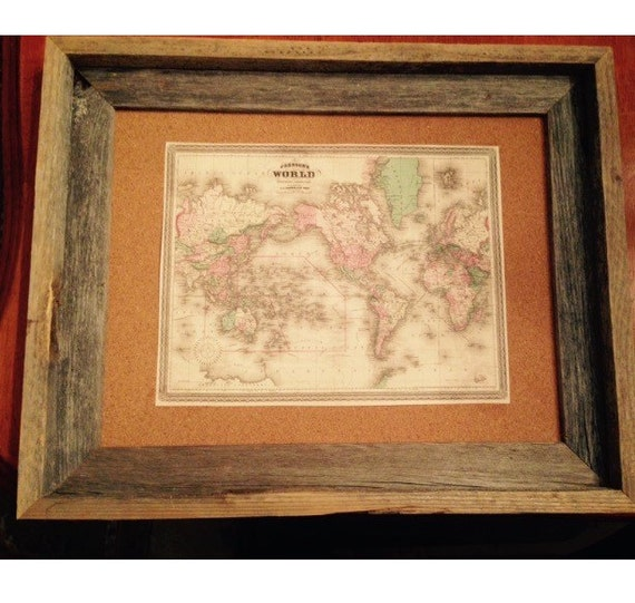 Cork World Map Cork Board vintage inspired repurposed 11x14