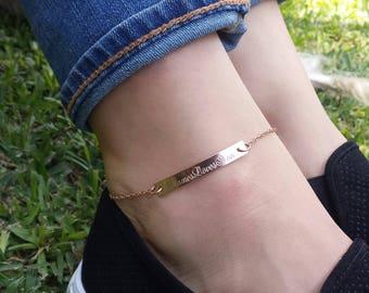 Personalized Bar Anklet, Custom Gold Anklet, Rose Gold Anklet, Ankle Bracelet,Anklet for Women,Bridesmaids Jewelry,Custom Gold Filled Anklet