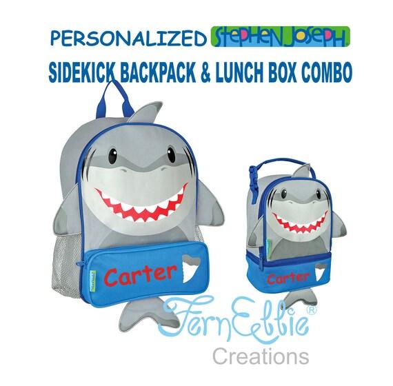 Personalized Stephen Joseph SHARK Sidekick Backpack and Lunch Pal Combo.