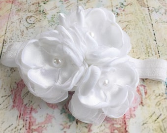 Baby girl christening/baptism handmade headband white satin organza flowers,decorated with faux pearls/White Flower girl headband/Baby gift