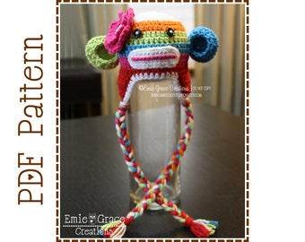 Crochet sock monkey hat and diaper cover pattern classic crochet sock monkey hat pattern stripe ear flap suzy and sid sock monkey dt1010fo