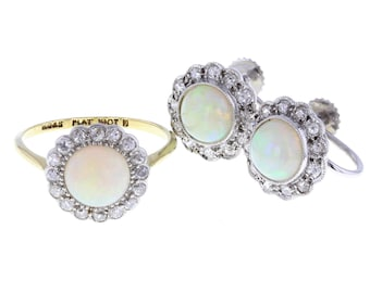 Antique Opal and Diamond Ring and Earrings