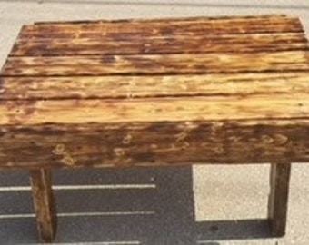 Burnt Wood Pallet Table