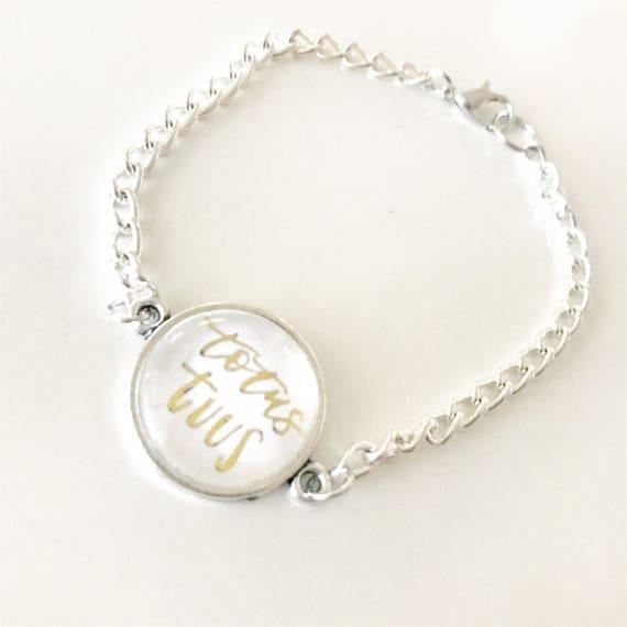 Catholic Jewelry * Catholic Bracelet * Chain Bracelet * Totus Tuus Catholic Chain Bracelet * Gifts for Her *