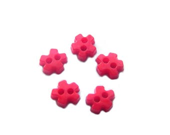 20 Tiny 6mm Red Flower Buttons Acrylic Dolls