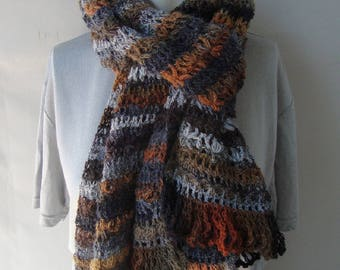 Merino Wool Scarf, Crochet Scarf, Crochet Striped Scarf, Brown Scarf, Color Harmony Scarf, Crocheted Scarf, Dad Gift, Brother Gift