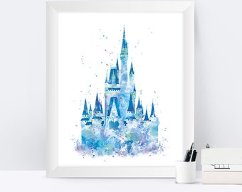 Cinderella Castle Art Watercolor Print Princess Castle