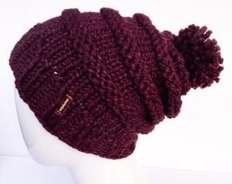 Knit Slouchy Hat with Pom Pom , Knit Hat Pom Pom, Women's Hat with Pom Pom, Knit Hat, Claret, Burgundy, Christmas Gifts, Gifts under 30