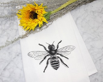 Honey Bee Kitchen Towel - Flour Sack Tea Towel - Hand Printed - French Bee - Dishcloth - Kitchen Decor - Housewarming Gift