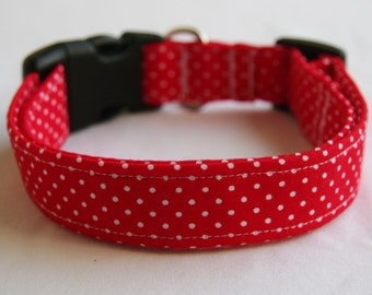 Red and White Mini Polka Dots- Adjustable Dog- Pet Collar- Pet Accessories- Supplies -1 inch 1.5 -2 inch width
