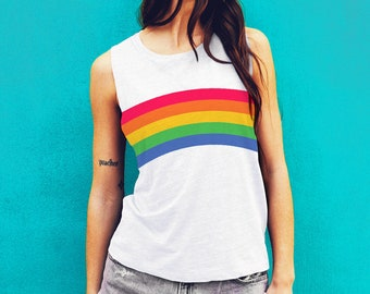 Rainbow Tank Top, Gay Pride, Retro Design, Vintage Tee, Muscle Tank, Muscle Tee, Pride clothing, Rainbow Shirt, Retro Tank Top, Cute Top