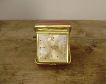Vintage Travel Alarm Clock Wind Up, Vinyl Case