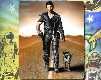 """The Road Warrior / Mad Max 2 / Mel Gibson as Mad Max with """"Dog"""" /Mouse Pad"""