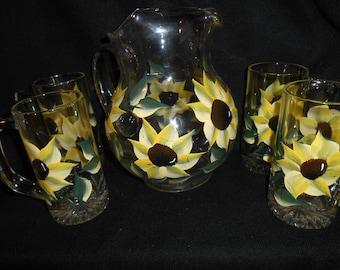 Beautiful Hand Painted Sunflower Pitcher and 4 heavy mugs ~ Sunflower Drink Set