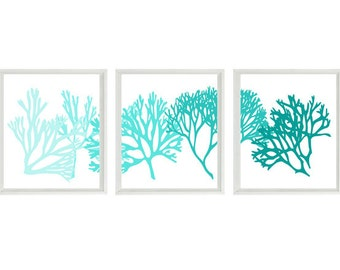 Coral Art Print Set - Aqua Teal Blue White Silhouette Modern Decor - Beach Nautical - Beach House Wall Art Home Decor Set
