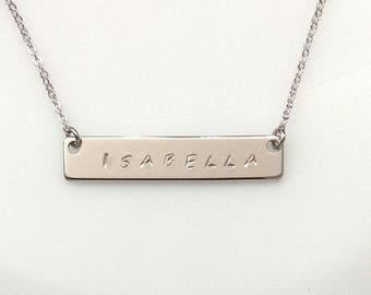 Bar Necklace, Personalized Name Necklace, Custom Hand Stamped Bar Necklace, Silver Rhodium Plated Bar Necklace, Silver Name Bar Necklace