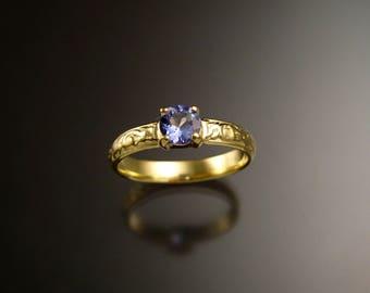 Tanzanite 14k Green Gold Victorian floral pattern wedding ring engagement ring