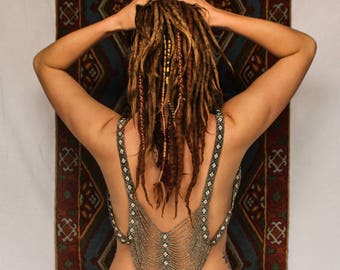 Beaded top, harness, body chain, burning man, festival fashion