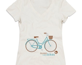 "T-Shirt ""Milan likes bikes"" White v-neck in organic cotton for women and girls, illustration by Milan Icons, serigraphy print"