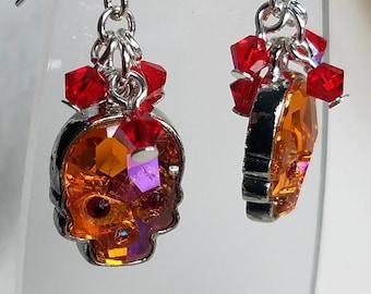 Blush crystal skulls, sugar skulls, Dia De Los Muertos, day of the dead dangle earring