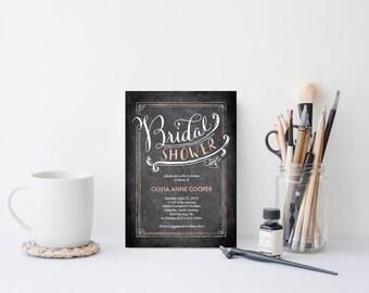 Bridal Shower Invitation Template | Editable Invitation Printable | Wedding Shower Chalkboard Invite | No. PW 2108