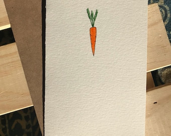 Hand Painted Carrot Note Card