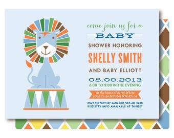Blue Lion Baby Shower Invitations