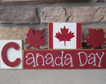 CANADA DAY BLOCKS with maple leafs and Canada flag blocks for table decor, desk, shelf, mantle, and party decor