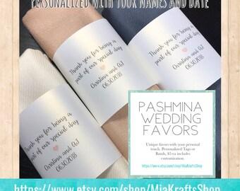 Pashmina 3pc - Personalized shawl - Bridesmaids gifts - Wedding favors - Customized scarves