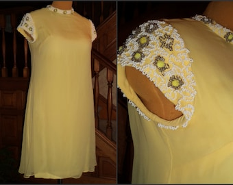 60's Mother of the Bride Dress MOD Sale Wedding Beaded Organza Overlay Lemon Yellow Ribboned Seed Bead Nugget Embellisment