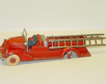 Vintage Original Ahrens Fox Ladder Fire Truck, Hubley Die Cast Toy Vehicle