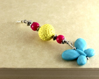 Beaded Zipper Pull/Blue butterfly zipper pull
