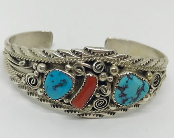 Native American Sterling Silver Signed Sterling M Turquoise and Red Jasper Cuff/Bracelet/Bangle