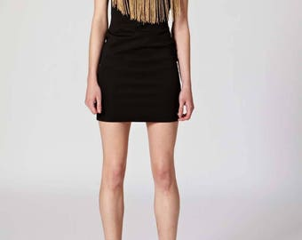 Black Gradient Black To Cream Tan Fringe Bodycon Strapless Sleeveless Dress