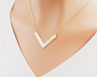 Custom V Necklace, V Necklace, Chevron Necklace, Minimal Gold Necklace, Delicate Gold Necklace, V Necklace Gold, Layering Necklace Gold