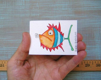 Fish-J51, Original ACEO Watercolor, Art Trading Card, Miniature Painting, by Fig Jam Studio