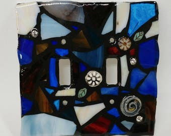 BLue and EArth Tone Mix - STAINED Glass MOSAIC Light Switch Cover - single, double, triple, outlet, or decora gfci - made to order