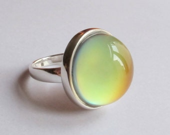 Mood Ring Sterling Silver 925 - 20 mm Quality Mood Stone