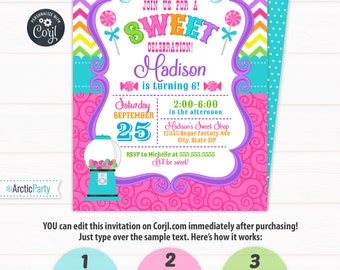 Candyland Invitations - Candy land Birthday Invitation - Candy Invitations - Cupcake Birthday - Cupcake Invitation - INSTANT ACCESS!