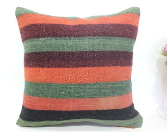 home decor kilim pillow 16x16 multı color kilim pillows bohemian kilim pillows sguare kilim pillows decor pillow patterned pillow MD 724