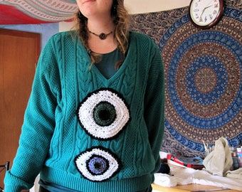 Open Your Eyes ~ Upcycled Sweater // Free Form Crochet // Trippy // Festival Fashion // Wild Moon Child Designs //