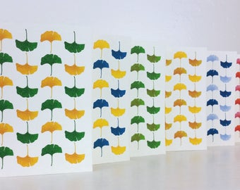 "Instant Download - Printable Greeting Card - Colorful Ginkgo Leaves - Blank Inside - 3.5""x5"""