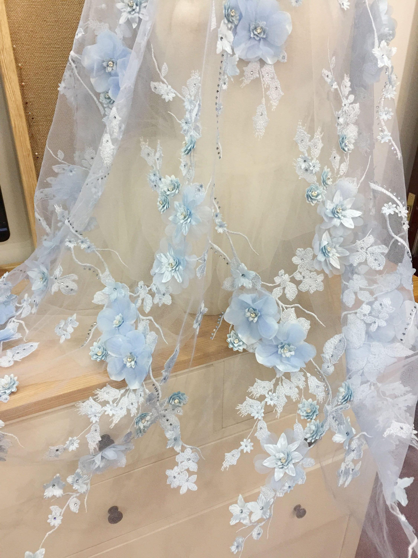 Himmel blau 3D Spitzenstoff Luxus 3D Strass Perlen Blumen