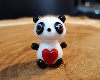 Panda Bead, Lampwork Panda Bead, Sculpture Panda Bead