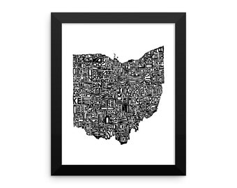 Ohio typography map art FRAMED print customizable personalized state poster custom wall decor engagement wedding housewarming gift