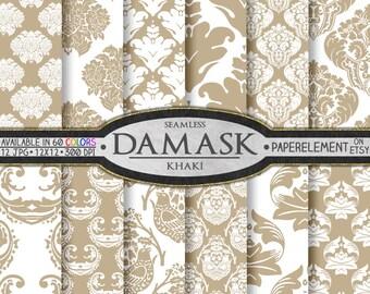 Khaki Digital Damask Scrapbook Paper  - Printable Backgrounds - Instant Download
