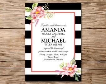 Watercolor Floral Invitation, Printable Wedding Invitation, Pink Wedding, Watercolor Invitation, Rustic Wedding Invitation, Bridal Shower