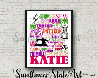 Gift for Sewer, Seamstress Gift, Gift for Seamstress, Gift for Tailor, Sewing Pattern Gift, Personalized Sewing Poster, Sewing Typography