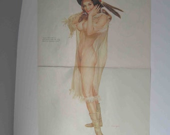 Original Vargas Girl 2 Page Pin-Up August 1971 Vintage Playboy Magazine
